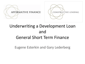 Underwriting a Development Loan