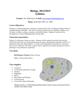 Biology 2014/2015 Syllabus Teacher: Ms. McSweeny, E