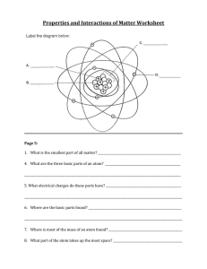 Properties and Interactions of Matter Worksheet
