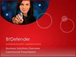 BitDefender Business Solutions Overview