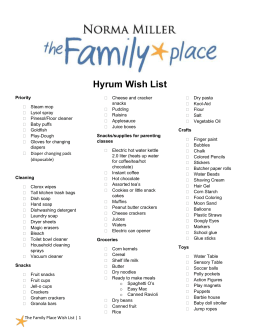 Norma Miller, The Family Place (Hyrum) Wish List