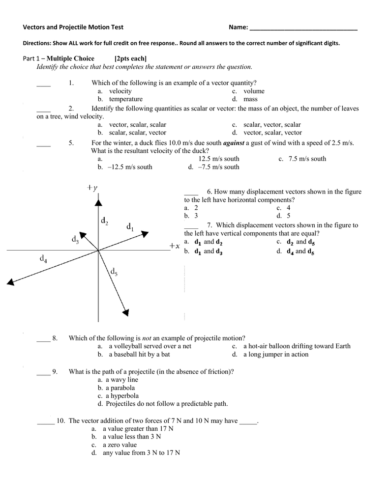 Vectors And Projectile Motion Study Guide Daily Instruction Manual
