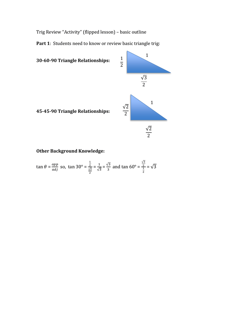Trig review worksheet pooptronica Choice Image