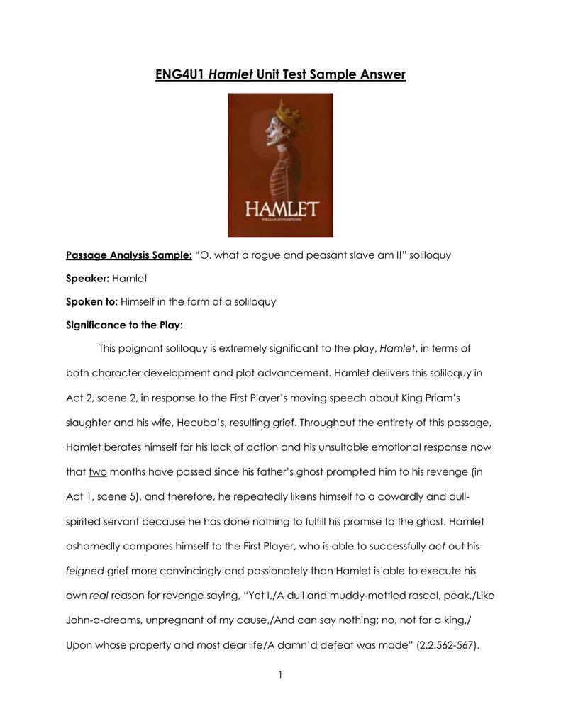 Hamlet Sample Passage Analysis