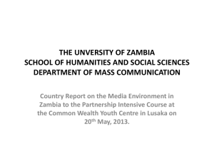 THE UNVERSITY OF ZAMBIA SCHOOL OF HUMANITIES AND