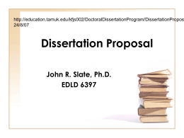 Dissertation Proposal - research