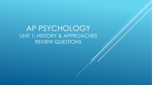 Unit 1: Psychology's History & Approaches Review