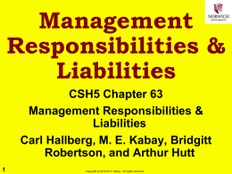 Management Responsibilities & Liabilities