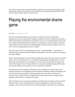 Playing the environmental shame game