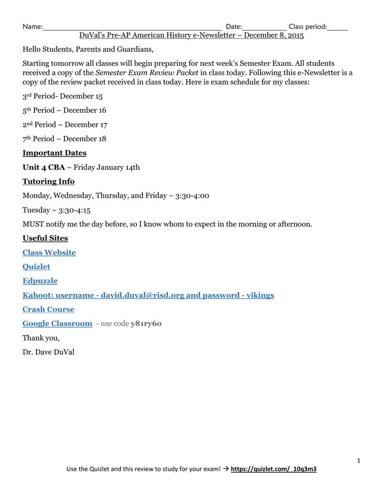 Tuesday December 8 E Newsletter