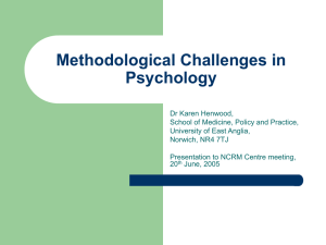 Methodological Challenges in Psychology
