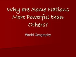 Why are Some Nations More Powerful than Others?