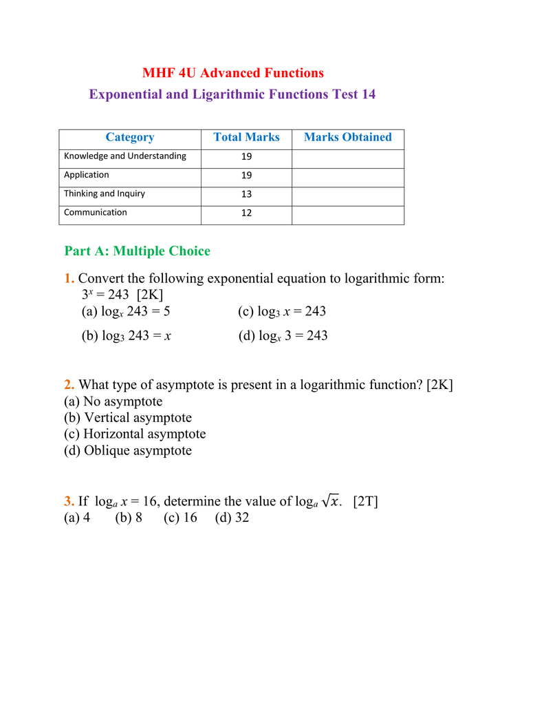 mhf 4u exponential and logarithmic functions test 14