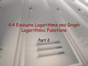 4.4 Evaluate Logarithms and Graph Logarithmic Functions