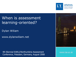 When is assessment learning oriented?