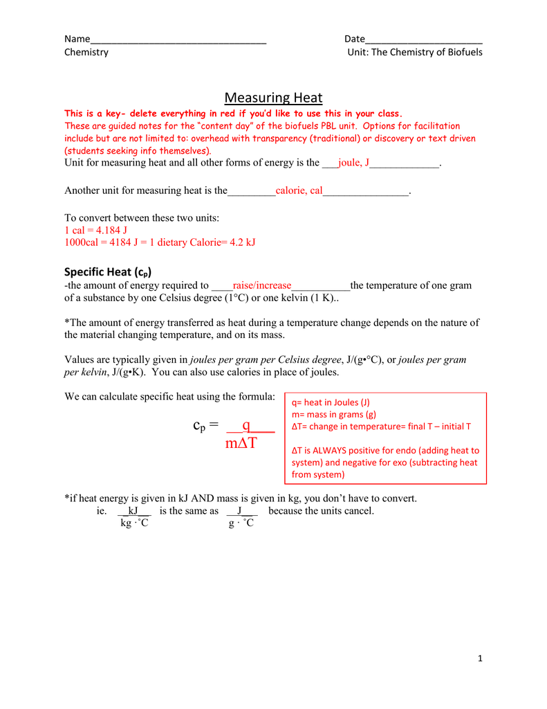 Worksheets Heat And Its Measurement Worksheet Answers measuring heat