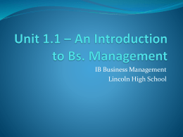 Unit 1.1 * Nature of Business Activity
