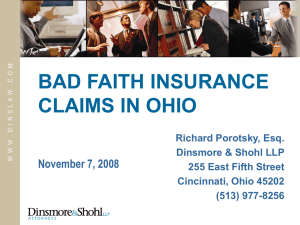 Bad Faith Insurance Claims in Ohio, including Emerging Issues and