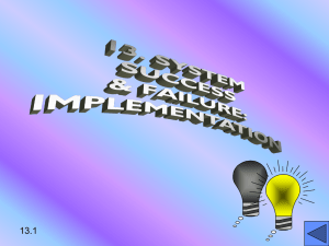 14. SYSTEM SUCCESS & FAILURE: IMPLEMENTATION