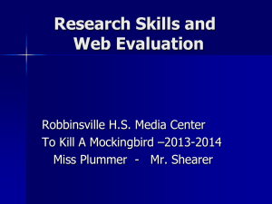 Research Skills and Web Evaluation