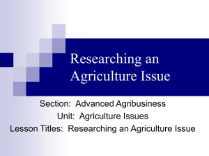 Researching an Agriculture Issue Powerpoint
