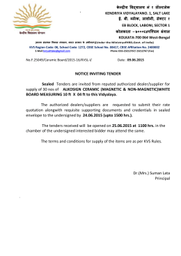 Tender Notice For White Board - Kendriya Vidyalaya No.1 Salt Lake