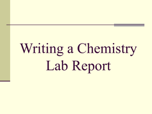 Writing a Chemistry Lab Report