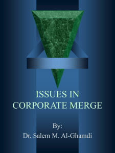 ISSUES IN CORPORATE MERGE - Faculty