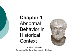 Abnormal Behavior in Historical Context - Home