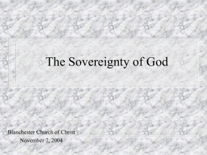The Sovereignty of God - Pisgah Church of Christ