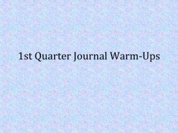 1st Quarter Journal Warm-Ups