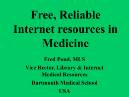 Free, Reliable Internet resources on Medicine