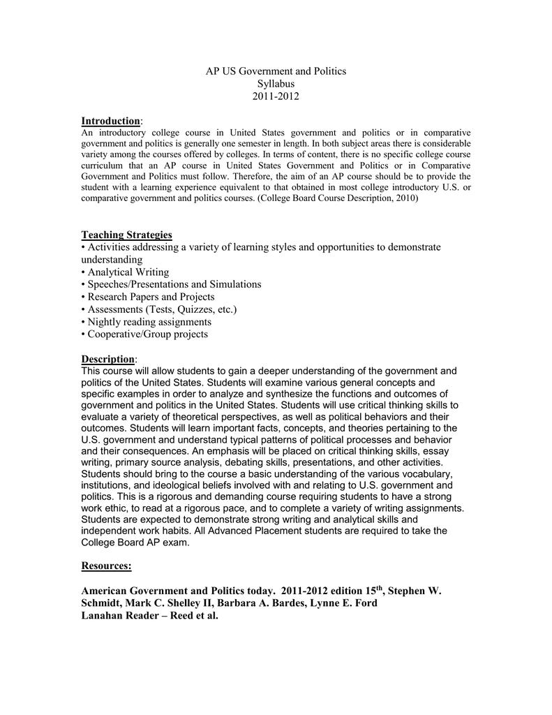 american government essay paper