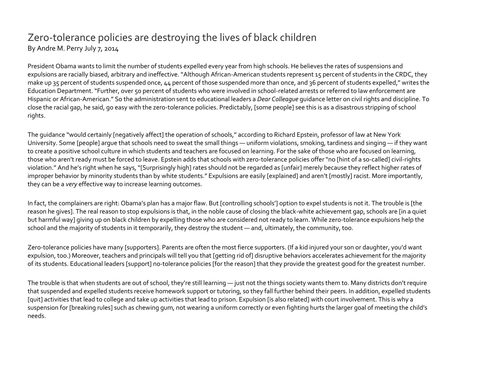 Zero Tolerance Policies Are Destroying >> Zero Tolerance Policies Are Destroying The Lives Of Black Children By