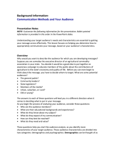 Communication Methods and Your Audience. Presentation Notes