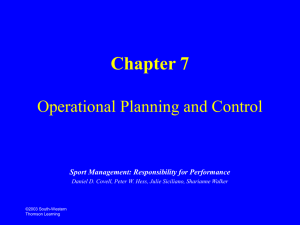 Chapter 7 Operational Planning and Control Sport Facility