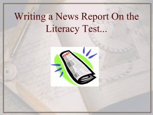Writing a News Report On the Literacy Test