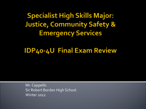 Justice, Community Safety & Emergency Services IDP40