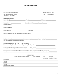 Teacher Application - Lee County Public Schools