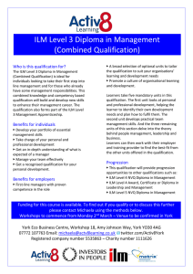 ILM Level 3 Diploma in Management (Combined Qualification) Who