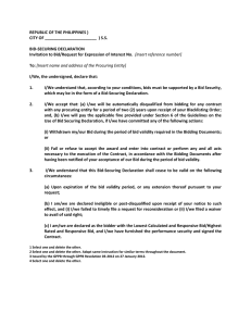 Bid Securing Declaration Sample Form