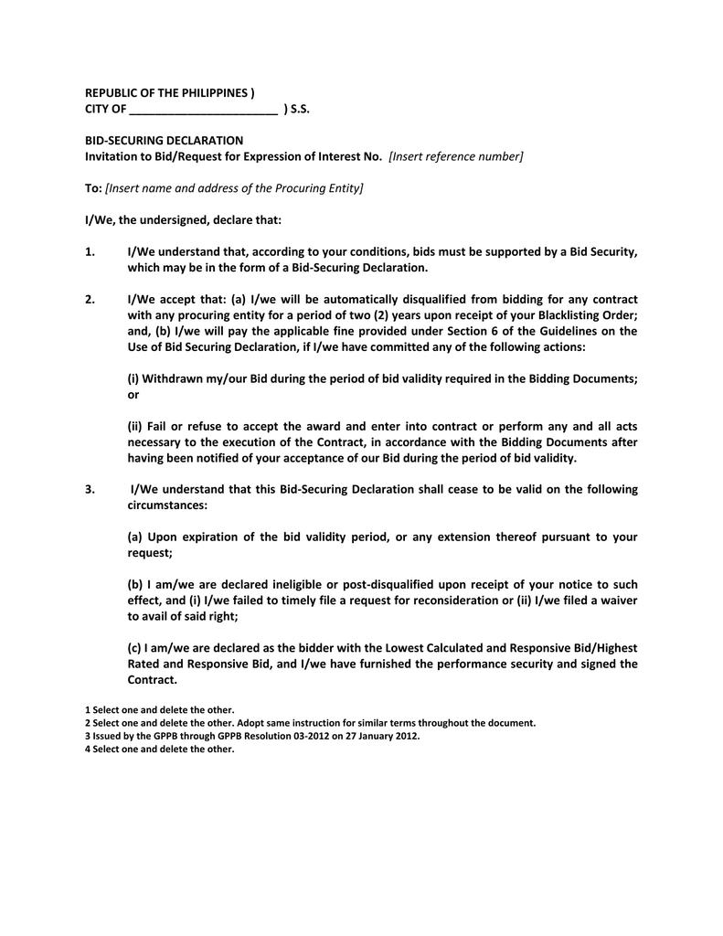 Bid Securing Declaration Sample Form