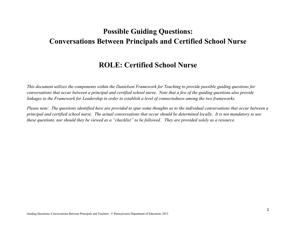 Guiding Questions For Certified School Nurses