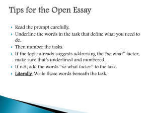Tips for the Open Essay
