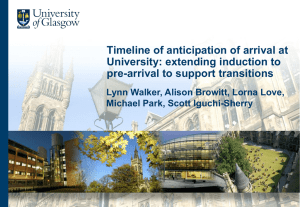 Timeline of anticipation of arrival at university