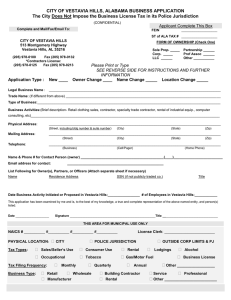 CITY OF VESTAVIA HILLS, ALABAMA BUSINESS APPLICATION
