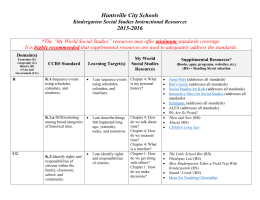 Kindergarten Social Studies Instructional Resources