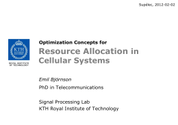 Optimization Concepts for Resource Allocation in Cellular Systems