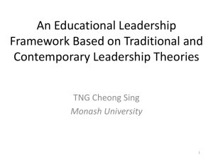 An Educational Leadership Framework Based on Traditional and