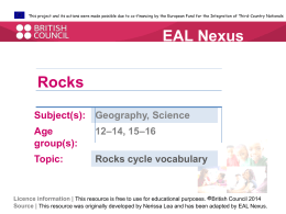 Rock cycle words  - EAL Nexus